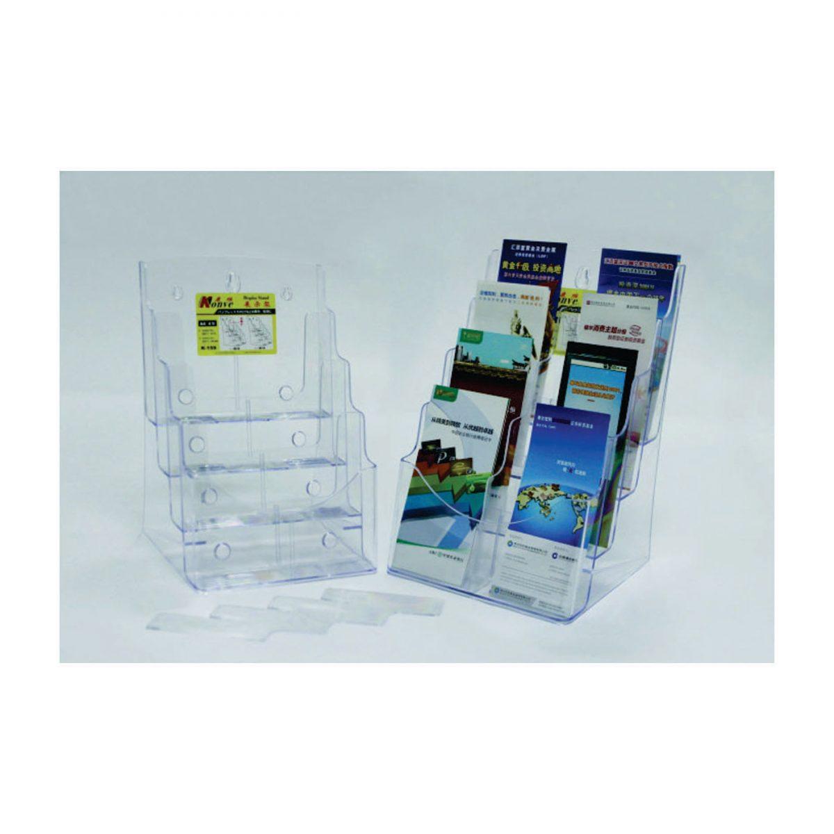 Display plastic pentru pliante, 4 x A4-portrait, KEJEA - transparent
