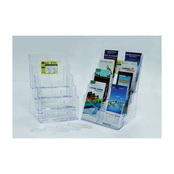 Display plastic pentru pliante, 4 x A4-portrait, KEJEA - transparent