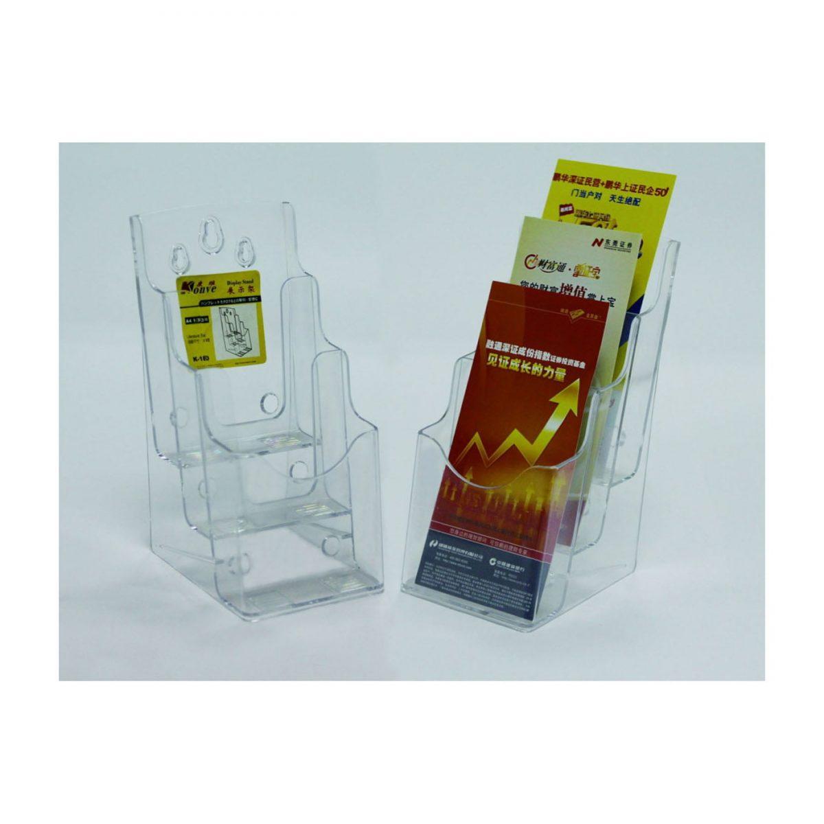 Display plastic pentru pliante, 3 x 1/3A4, KEJEA - transparent