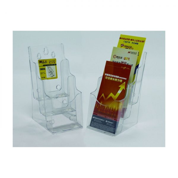 Display plastic pentru brosuri, de birou/perete, 3 x 1/3A4, KEJEA - transparent
