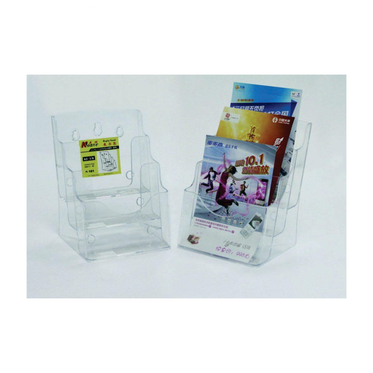 Display plastic pentru pliante, 3 x A5, KEJEA - transparent