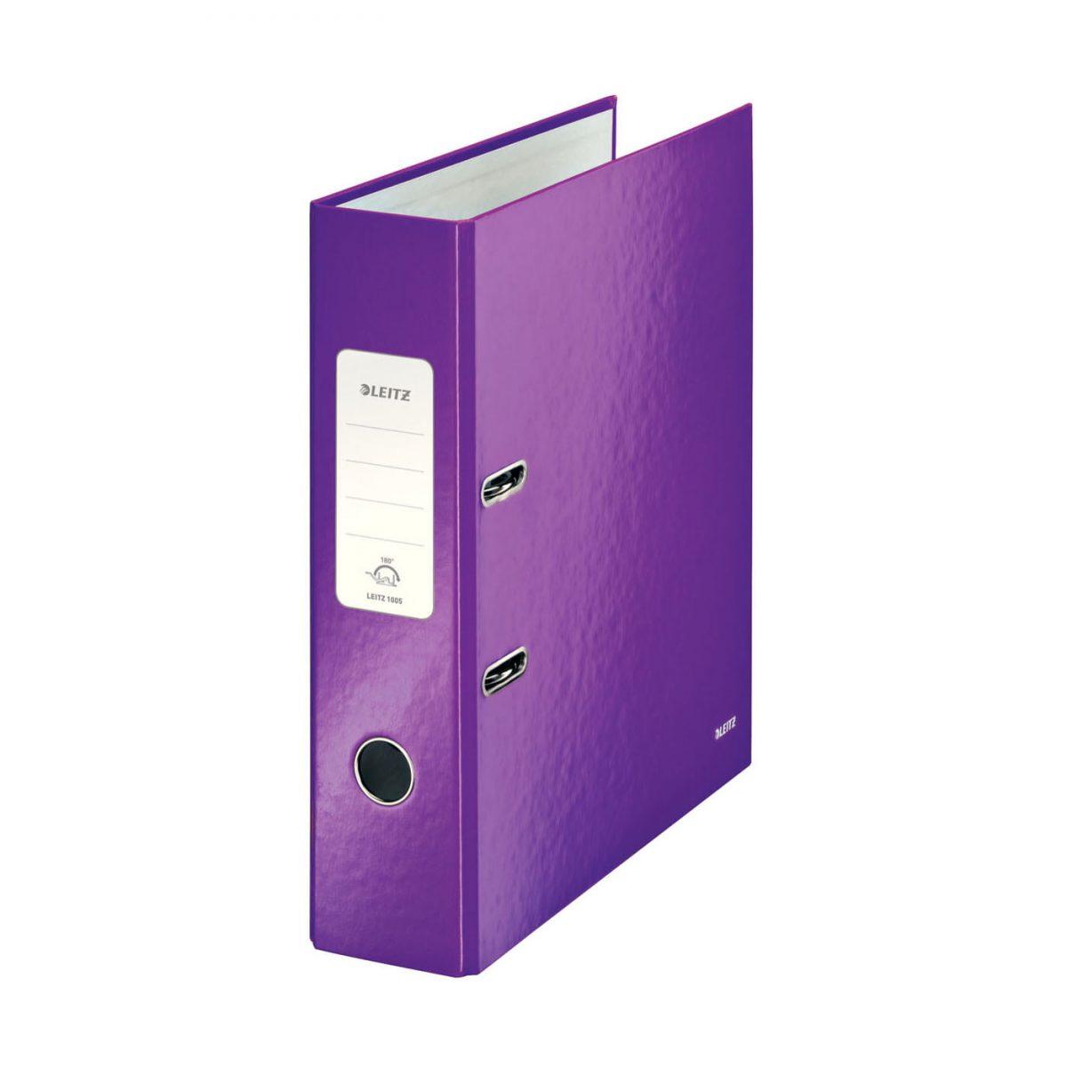Biblioraft LEITZ 180 Wow, A4, 85mm, carton laminat - mov metalizat