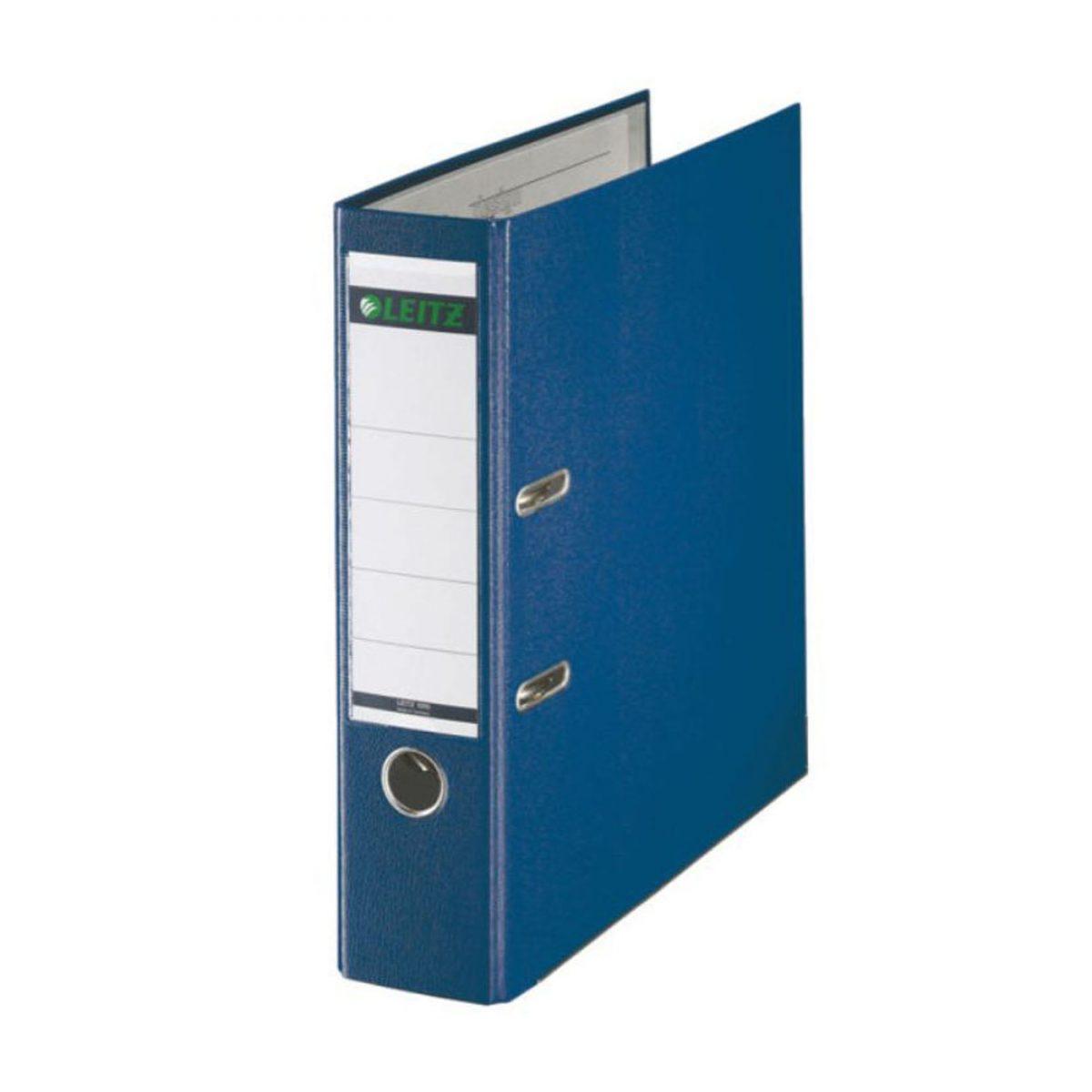 Biblioraft LEITZ 180, A4, plastifiat PP, margine metalica 80 mm - albastru