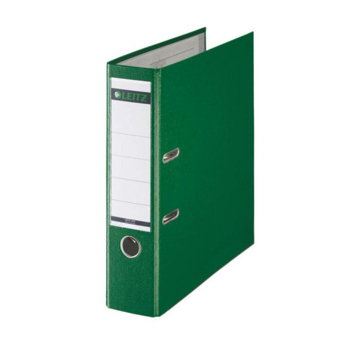 Biblioraft LEITZ 180, A4, plastifiat PP, margine metalica 80 mm - verde