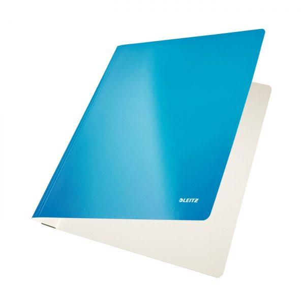Dosar carton LEITZ Wow cu sina, capacitate 250 coli - albastru metalizat