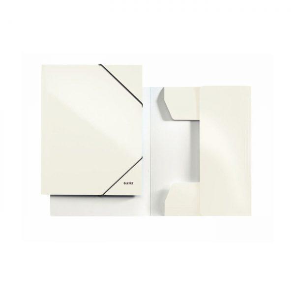 Mapa LEITZ Wow, carton cu elastic - alb metalizat