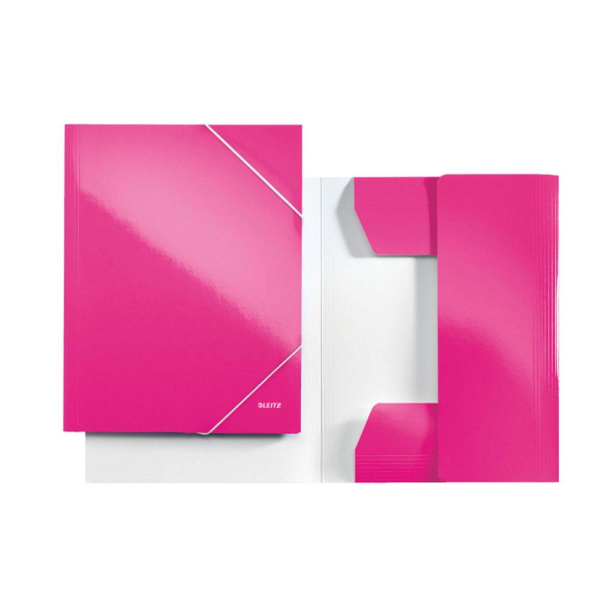 Mapa LEITZ Wow, carton cu elastic - roz metalizat