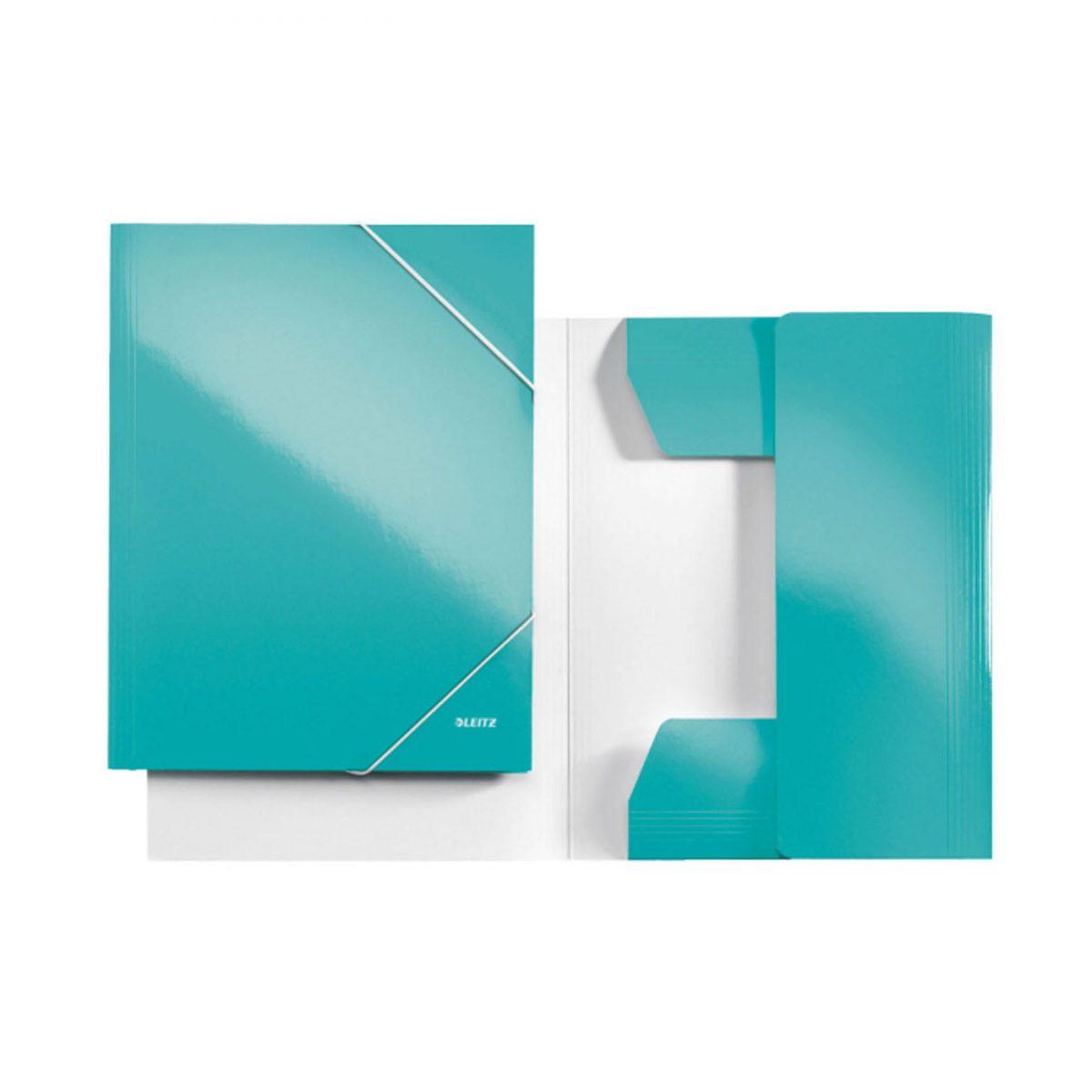Mapa LEITZ Wow, carton cu elastic - turcoaz metalizat