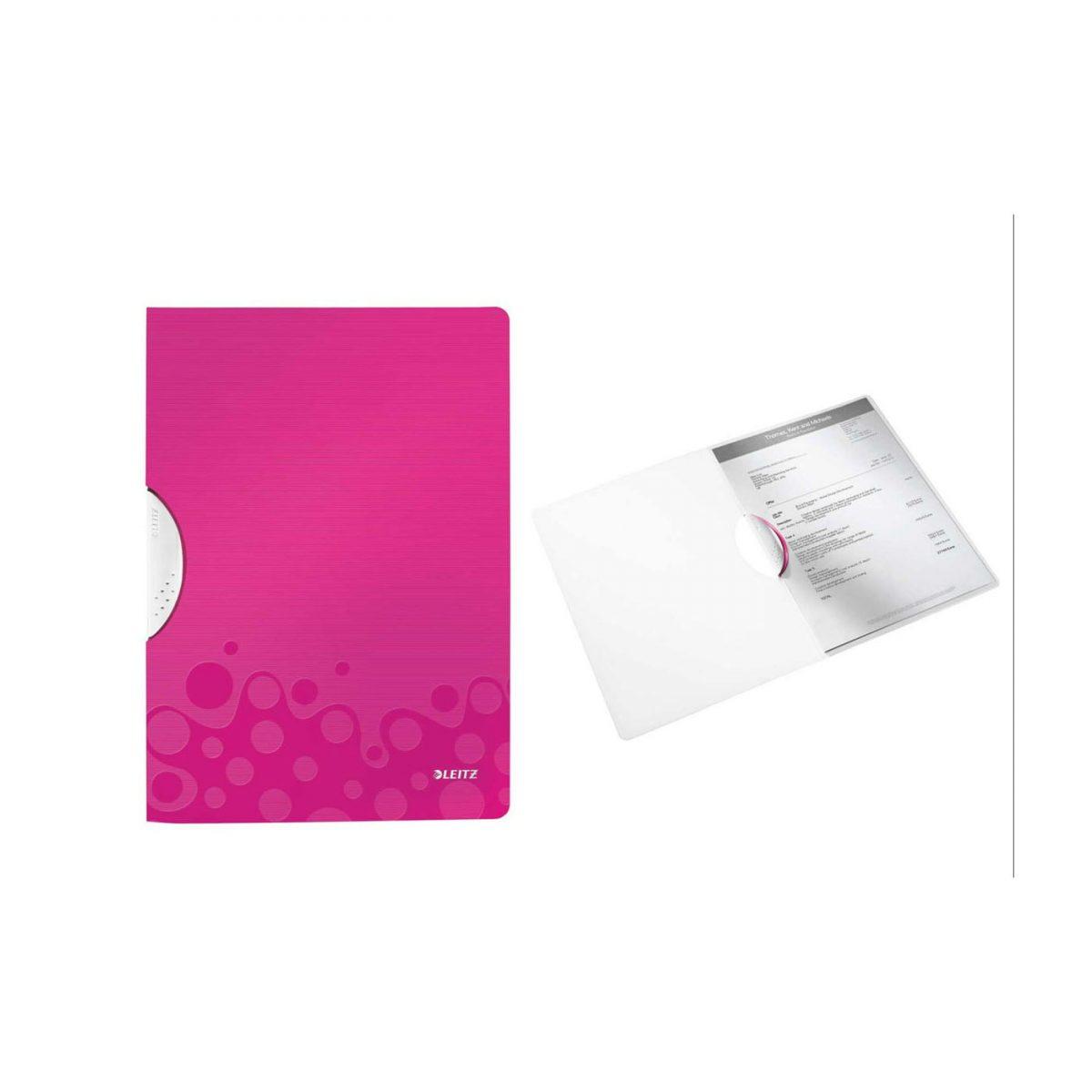 Dosar cu clip LEITZ Wow ColorClip, PP - roz metalizat
