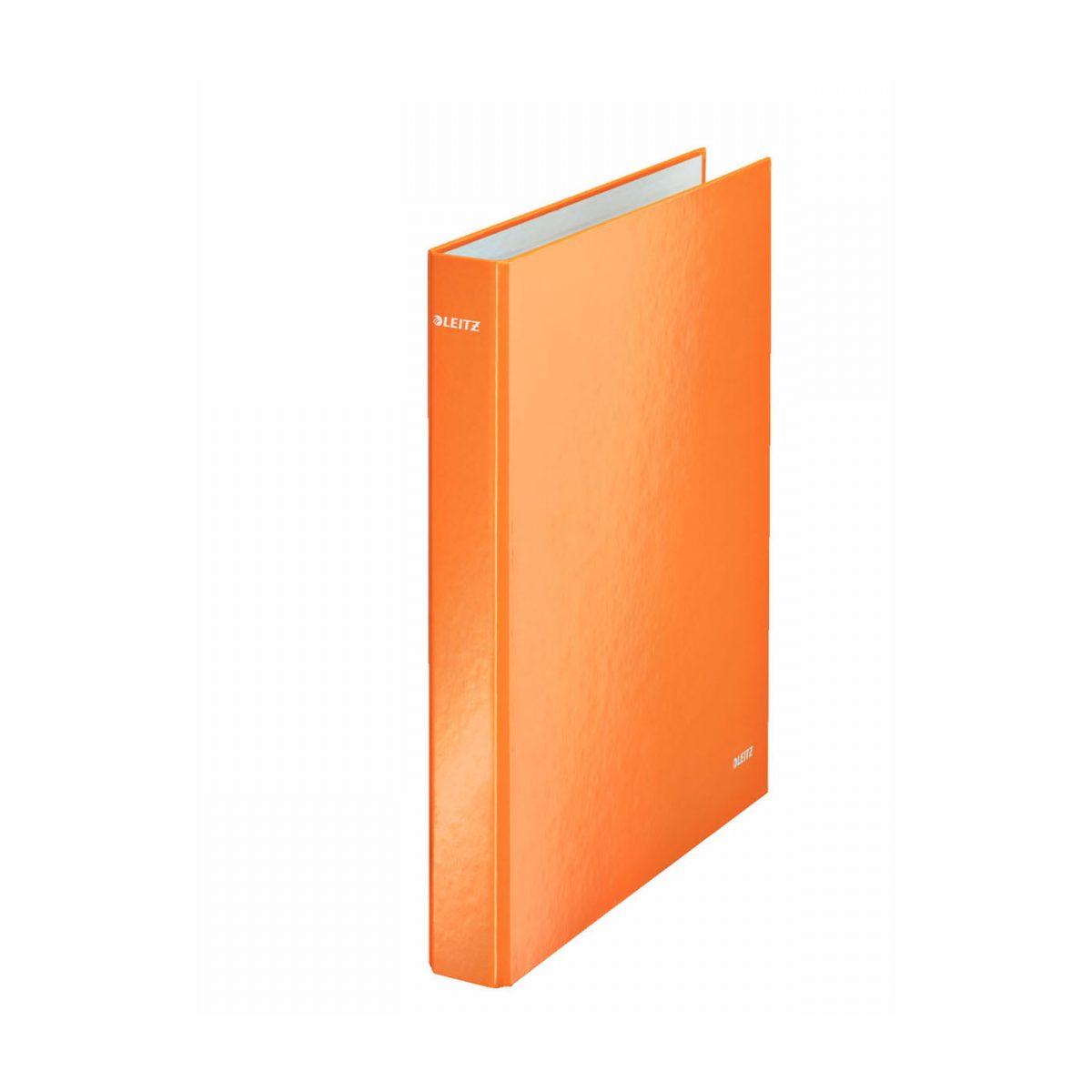 Caiet mecanic LEITZ Wow, mecanism 2DR, inel 25mm, carton laminat - portocaliu metalizat