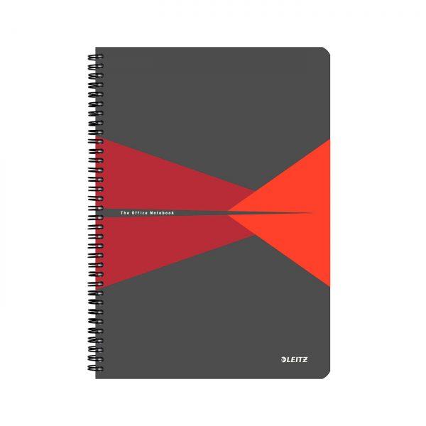 Caiet de birou LEITZ Office, PP, A4, cu spira, matematica - rosu