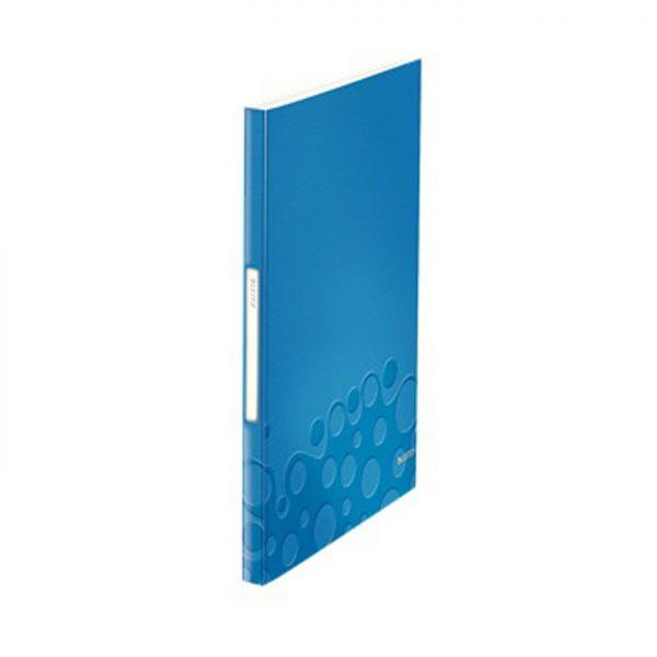 Mapa LEITZ WOW de prezentare, PP, 40 de folii - albastru metalizat