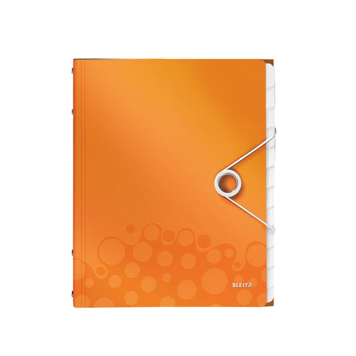 Mapa LEITZ Wow cu 12 separatoare, PP - portocaliu metalizat