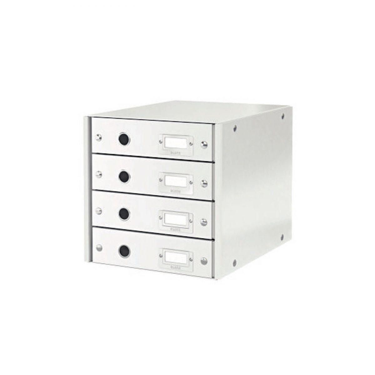 Suport cu 4 sertare LEITZ Click & Store, din carton laminat - alb