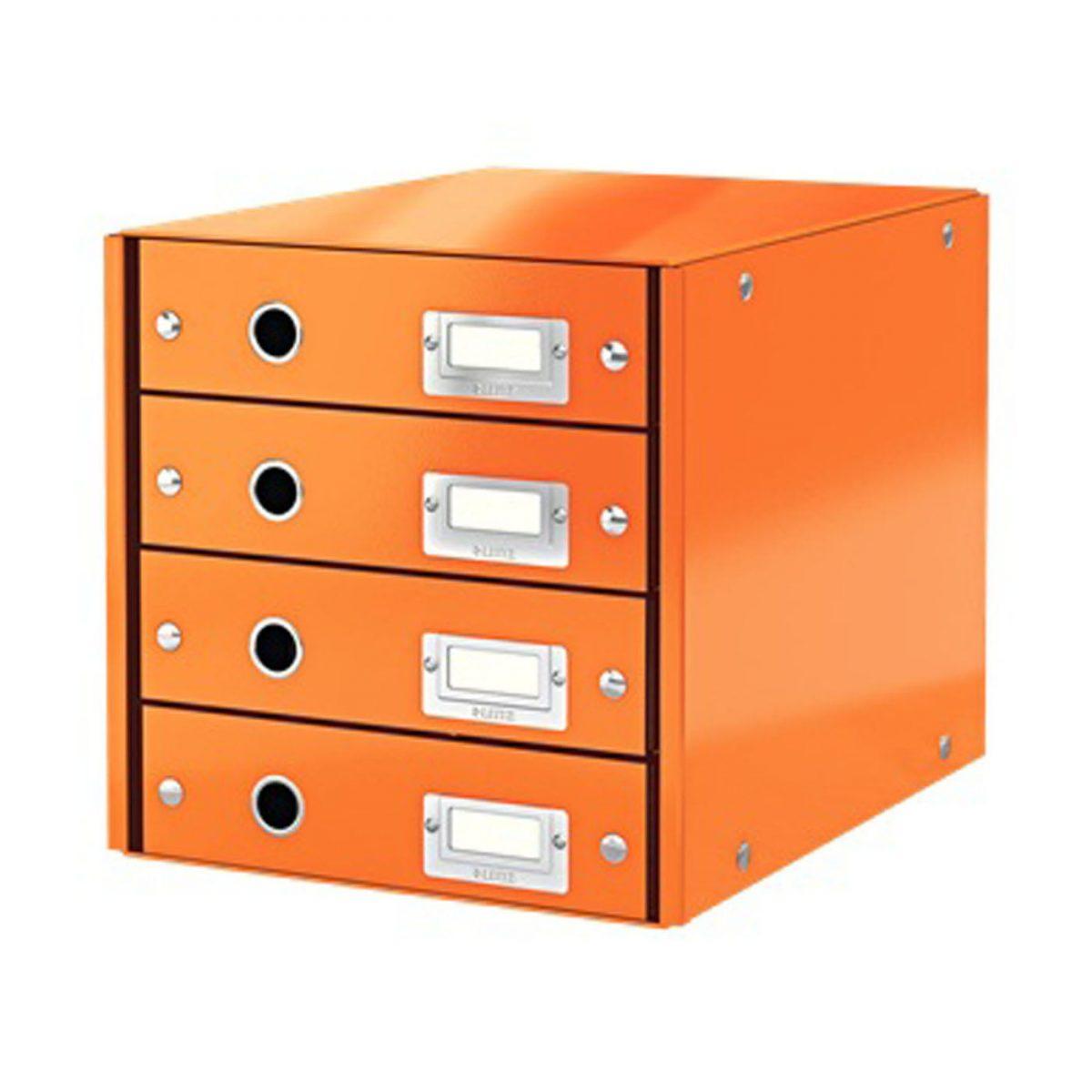 Suport cu 4 sertare LEITZ Click & Store, din carton laminat - portocaliu