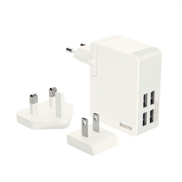 Incarcator LEITZ Complete Traveller USB, pentru perete, 24W, 4 porturi USB - alb