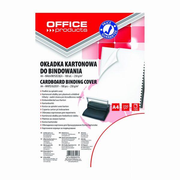 Coperta carton lucios 250g/mp, A4, 100/top, Office Products - alb