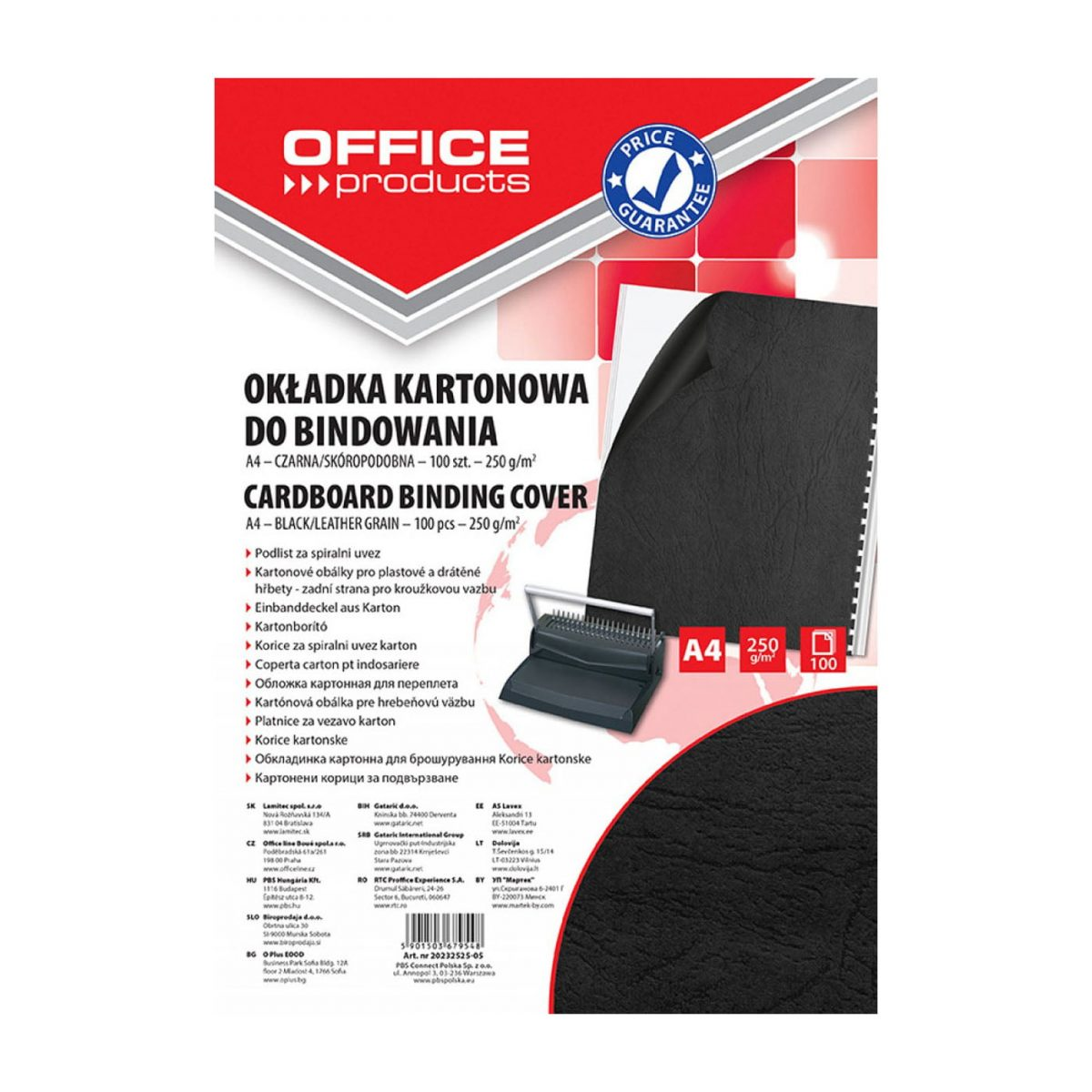 Coperta carton imitatie piele 250g/mp, A4, 100/top Office Products - negru