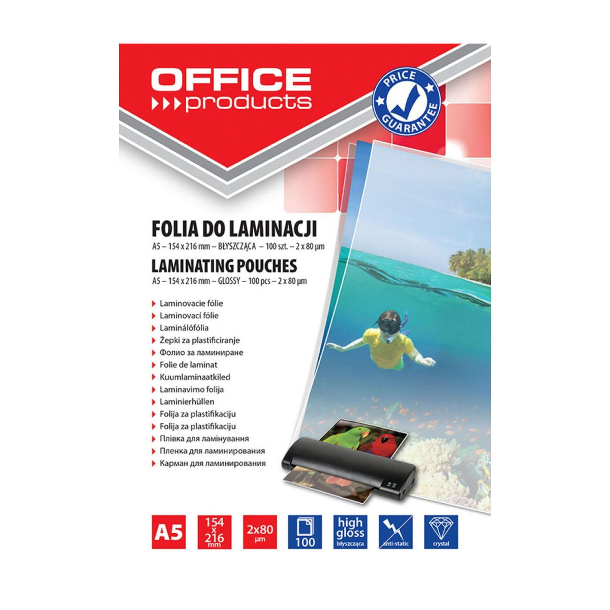 Folie laminare A5, 80 microni, 100buc/top, Office Products