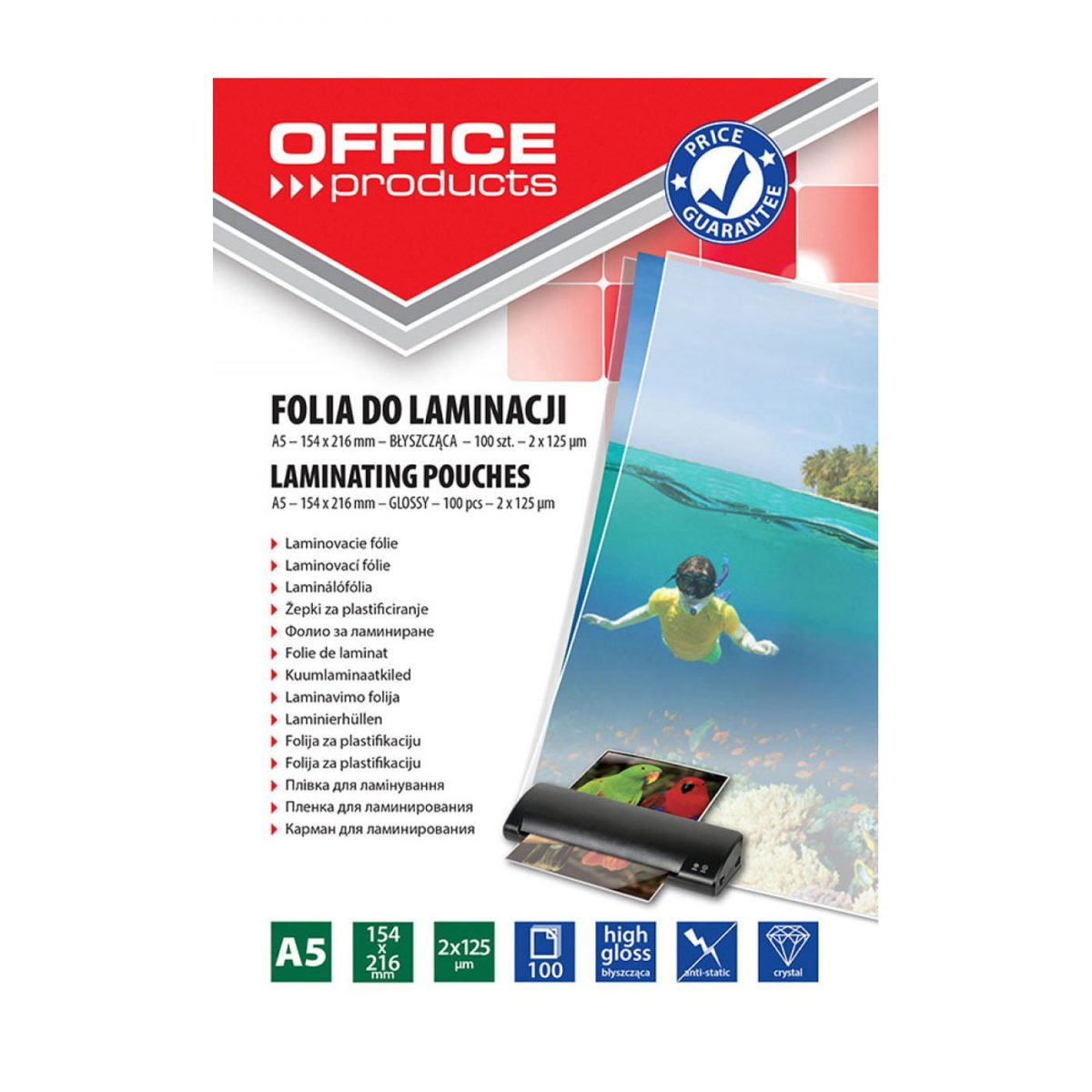 Folie laminare A5, 125 microni, 100buc/top, Office Products