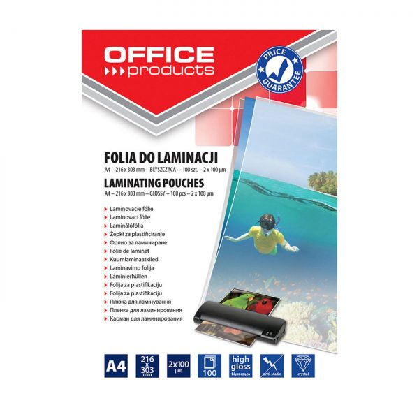 Folie laminare A4, 100 microni, 100buc/top, Office Products