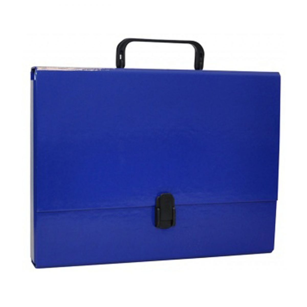 Servieta din carton laminat, A4/5cm, cu inchidere si maner, Office Products - bleumarin