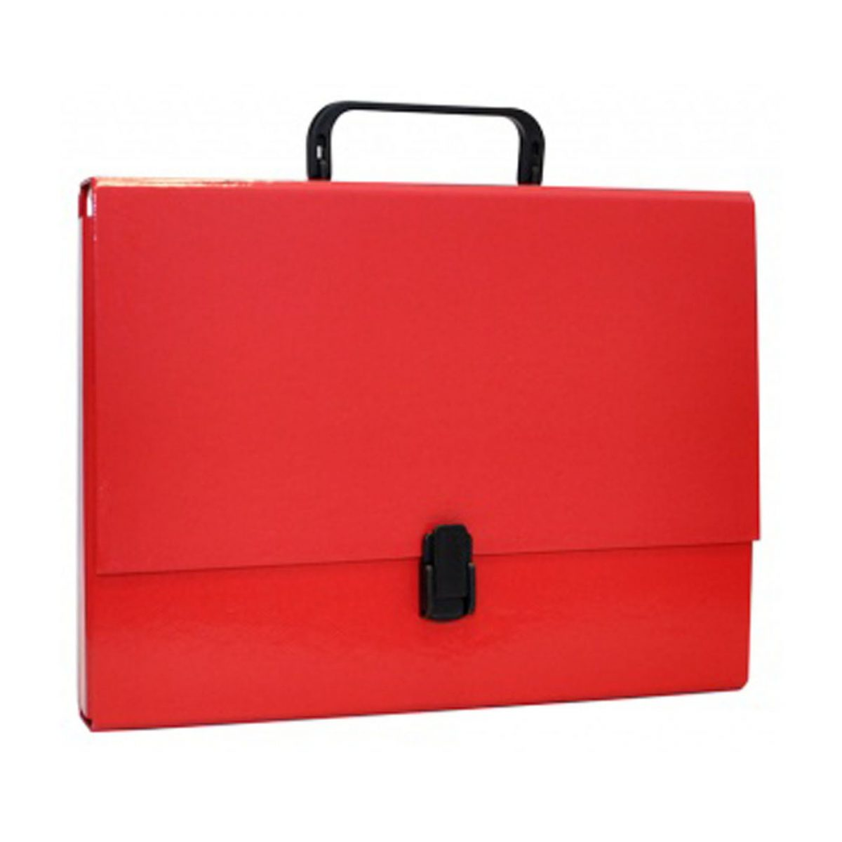 Servieta din carton laminat, A4/5cm, cu inchidere si maner, Office Products - rosu