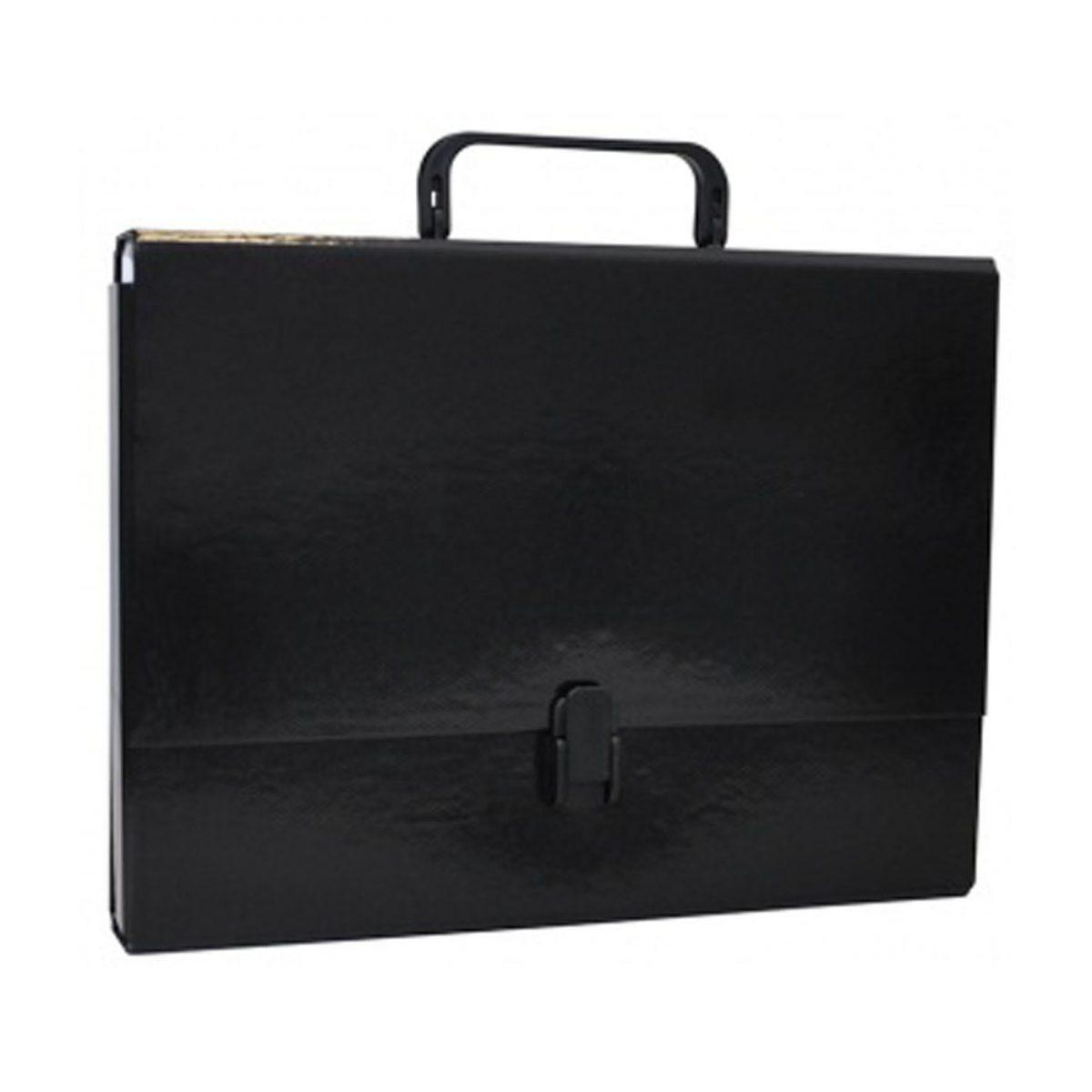 Servieta din carton laminat, A4/5cm, cu inchidere si maner, Office Products - negru