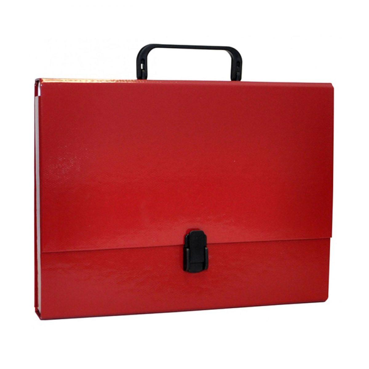 Servieta din carton laminat, A4/5cm, cu inchidere si maner, Office Products - visiniu