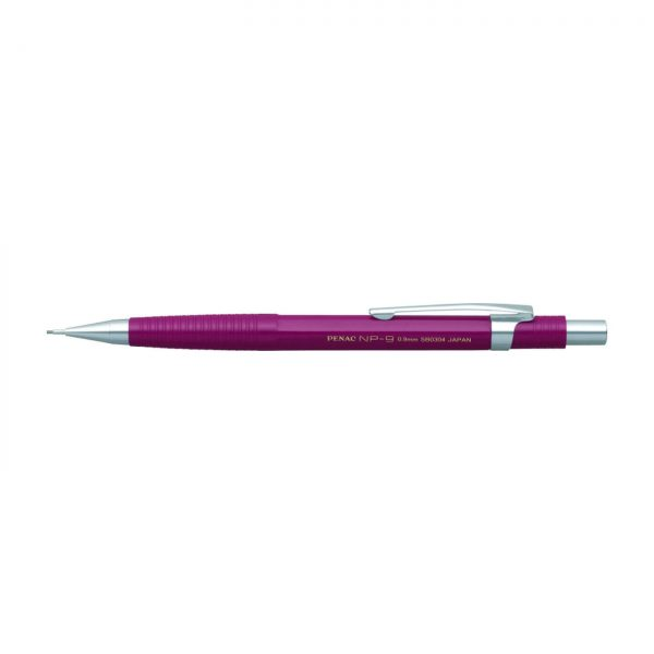 Creion mecanic profesional PENAC NP-9, 0.9mm, con metalic cu varf cilindric fix - corp bordeaux