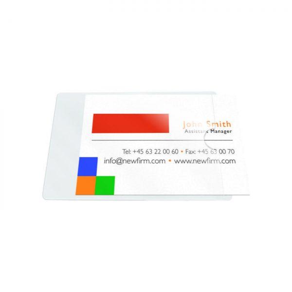 Buzunar autoadeziv pentru carti de vizita, acces lateral, 60 x 95mm, 10/set, PROBECO