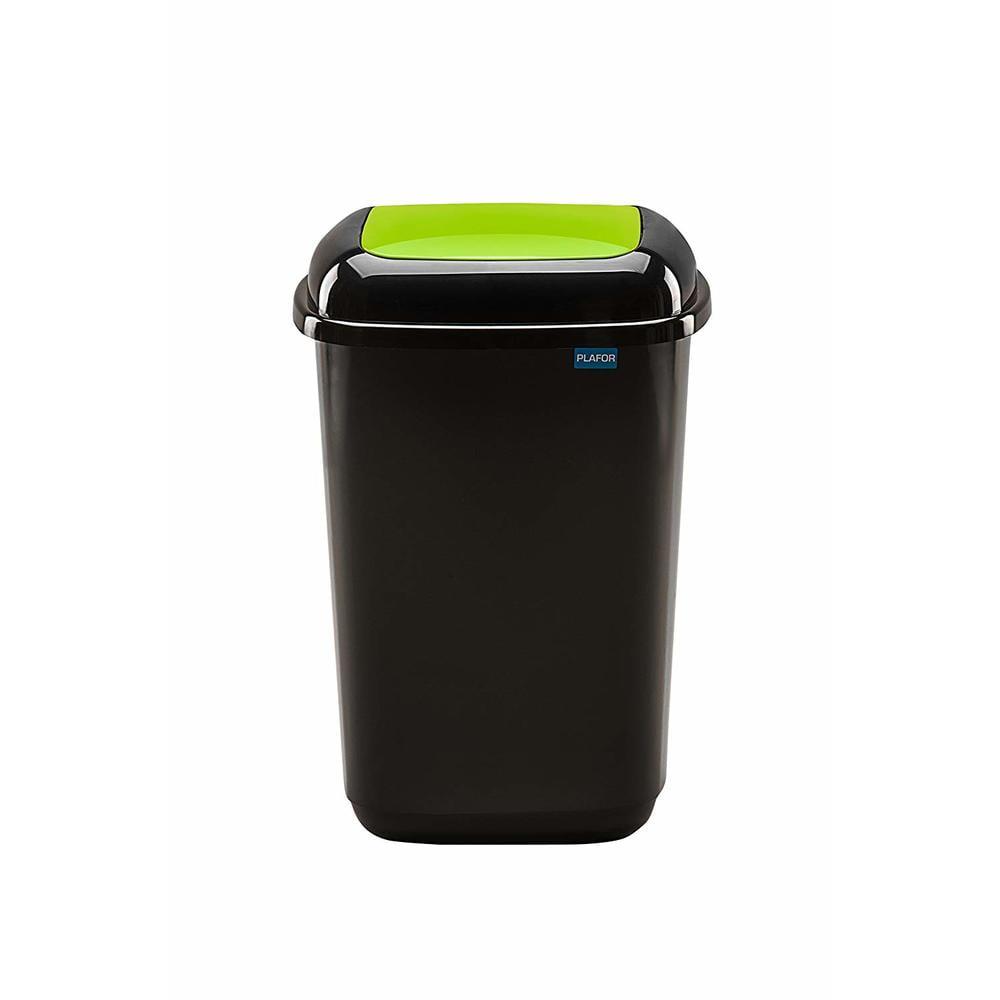 Cos plastic pentru reciclare selectiva, capacitate 28l, PLAFOR Quatro - negru cu capac verde