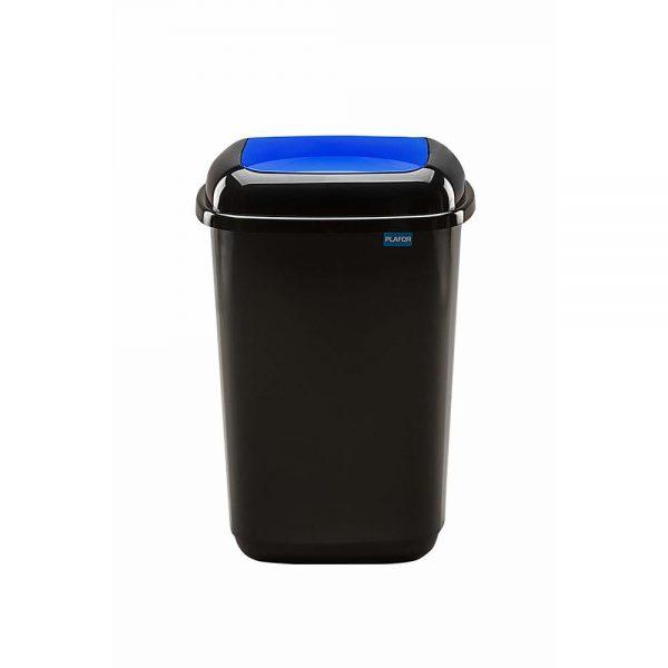Cos plastic pentru reciclare selectiva, capacitate 45l, PLAFOR Quatro - negru cu capac albastru