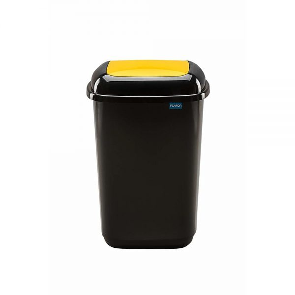 Cos plastic pentru reciclare selectiva, capacitate 45l, PLAFOR Quatro - negru cu capac galben