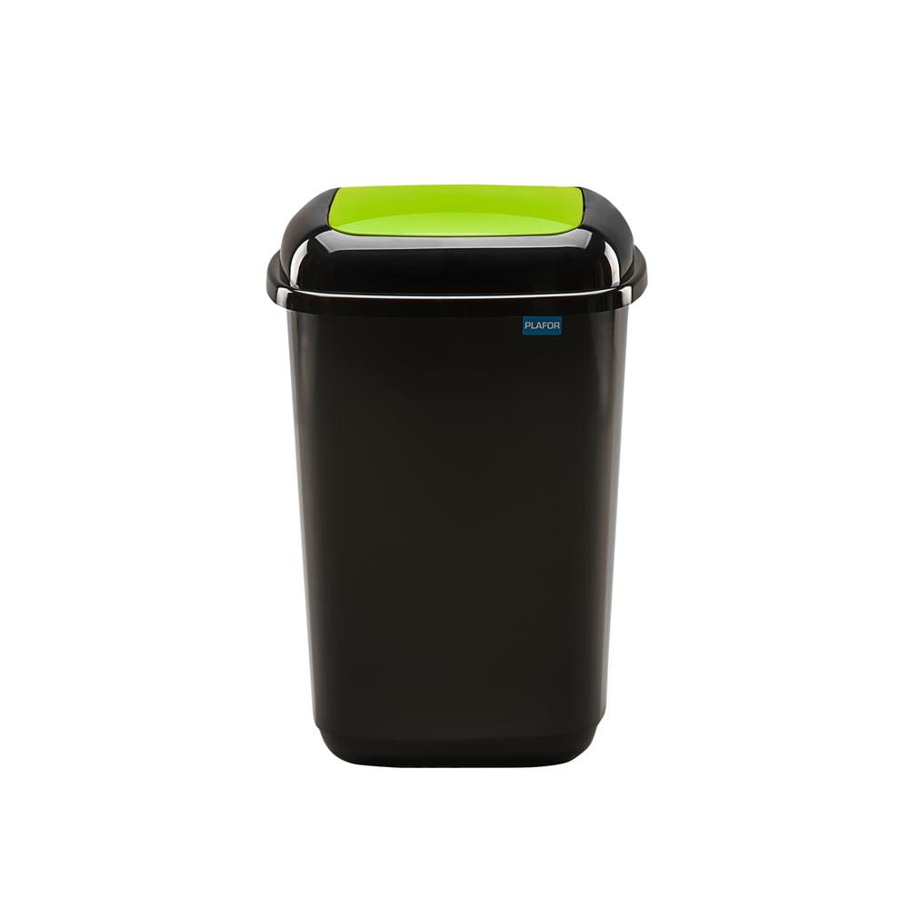 Cos plastic pentru reciclare selectiva, capacitate 45l, PLAFOR Quatro - negru cu capac verde