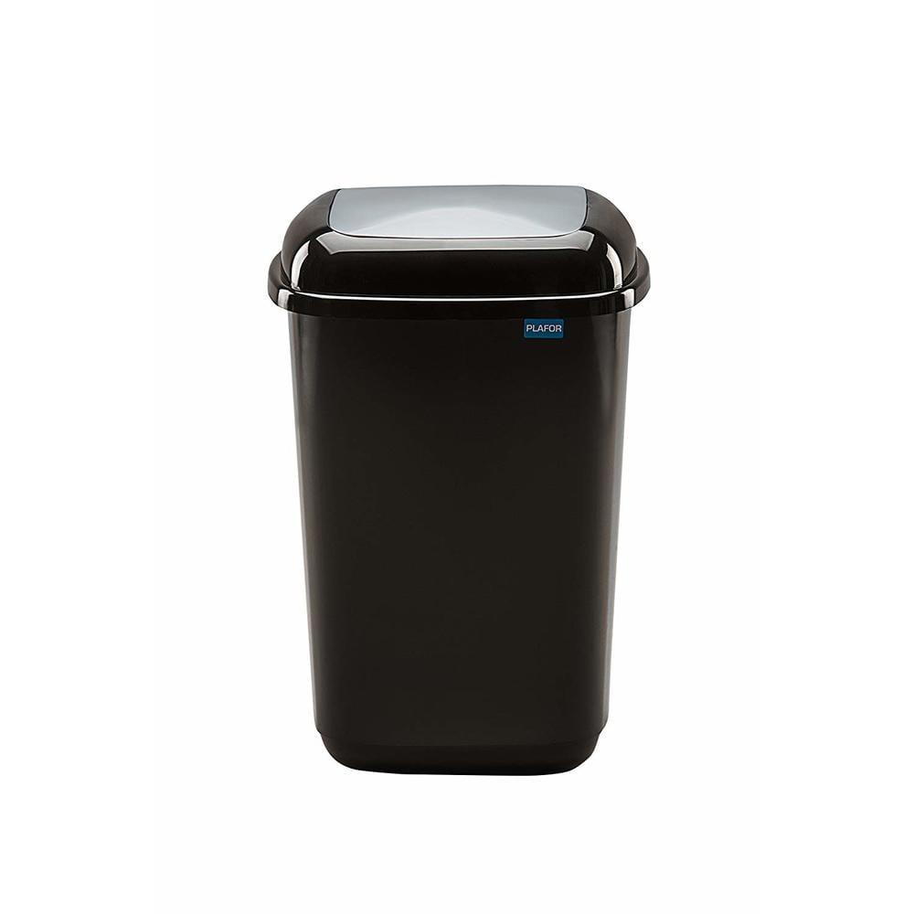 Cos plastic pentru reciclare selectiva, capacitate 45l, PLAFOR Quatro - negru cu capac gri