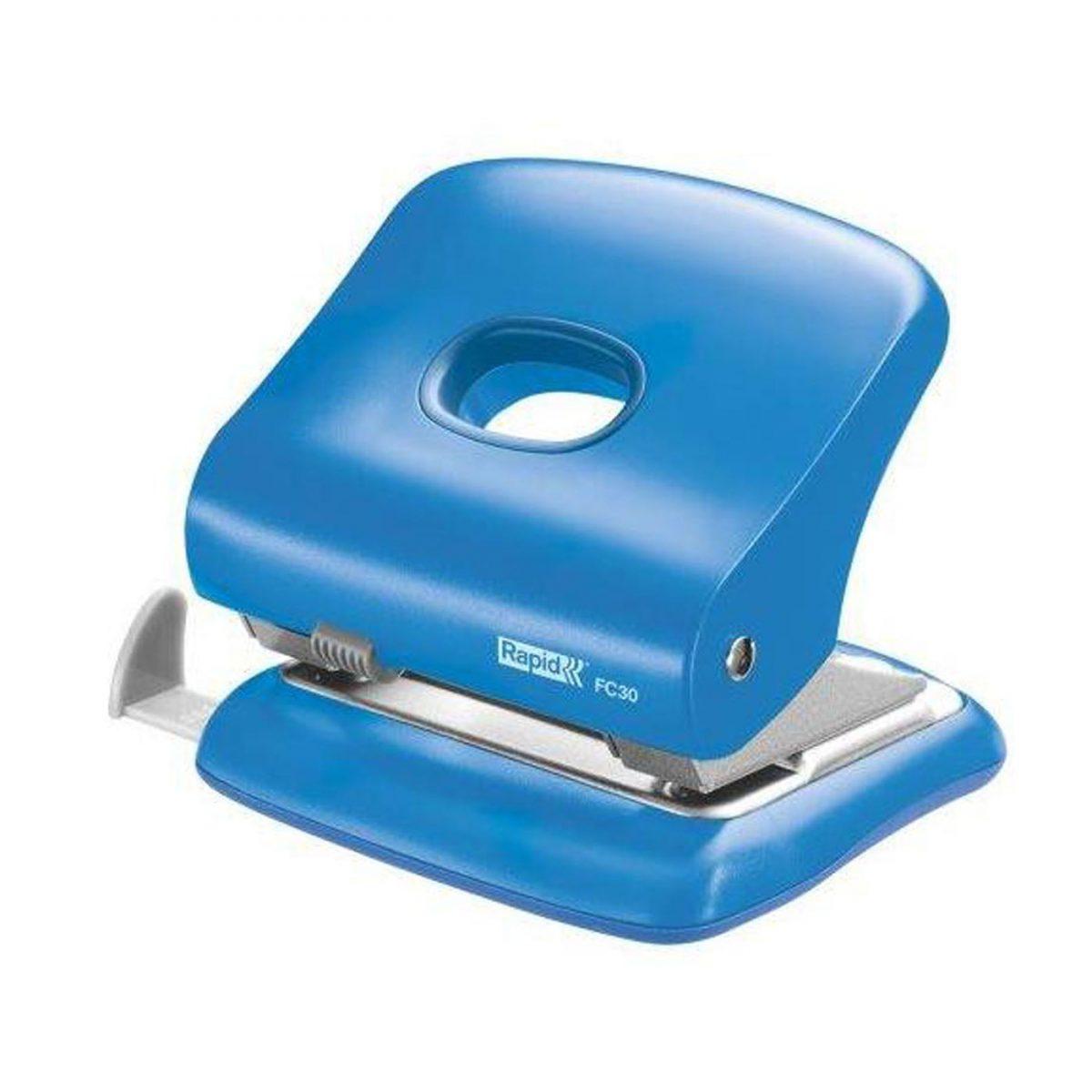 Perforator plastic RAPID FC30, 30 coli - albastru deschis