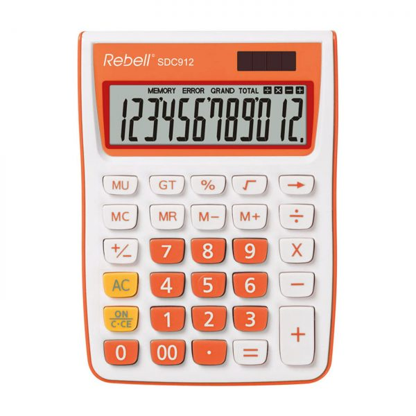Calculator de birou, 12 digits, 145 x 104 x 26 mm, Rebell SDC 912 - alb/orange