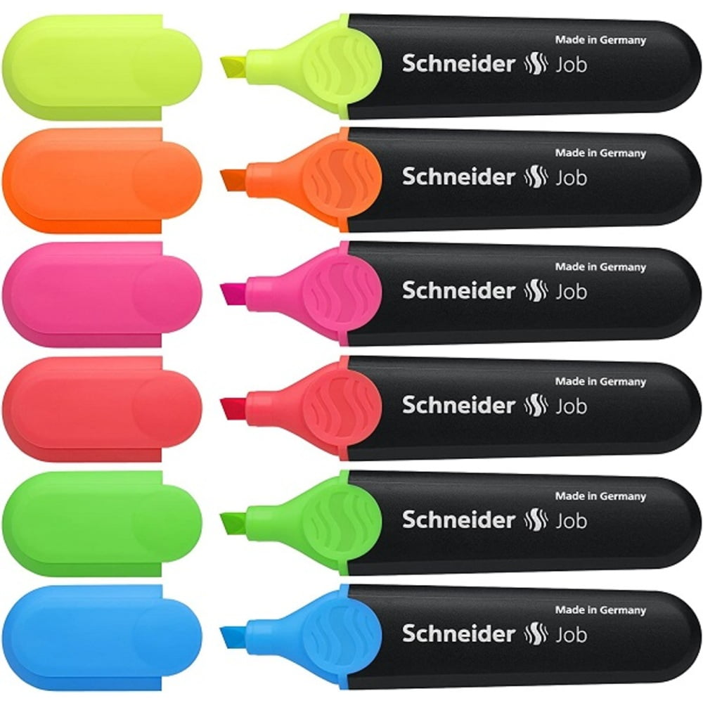 Textmarker varf retezat SCHNEIDER Job, 6 culori/set
