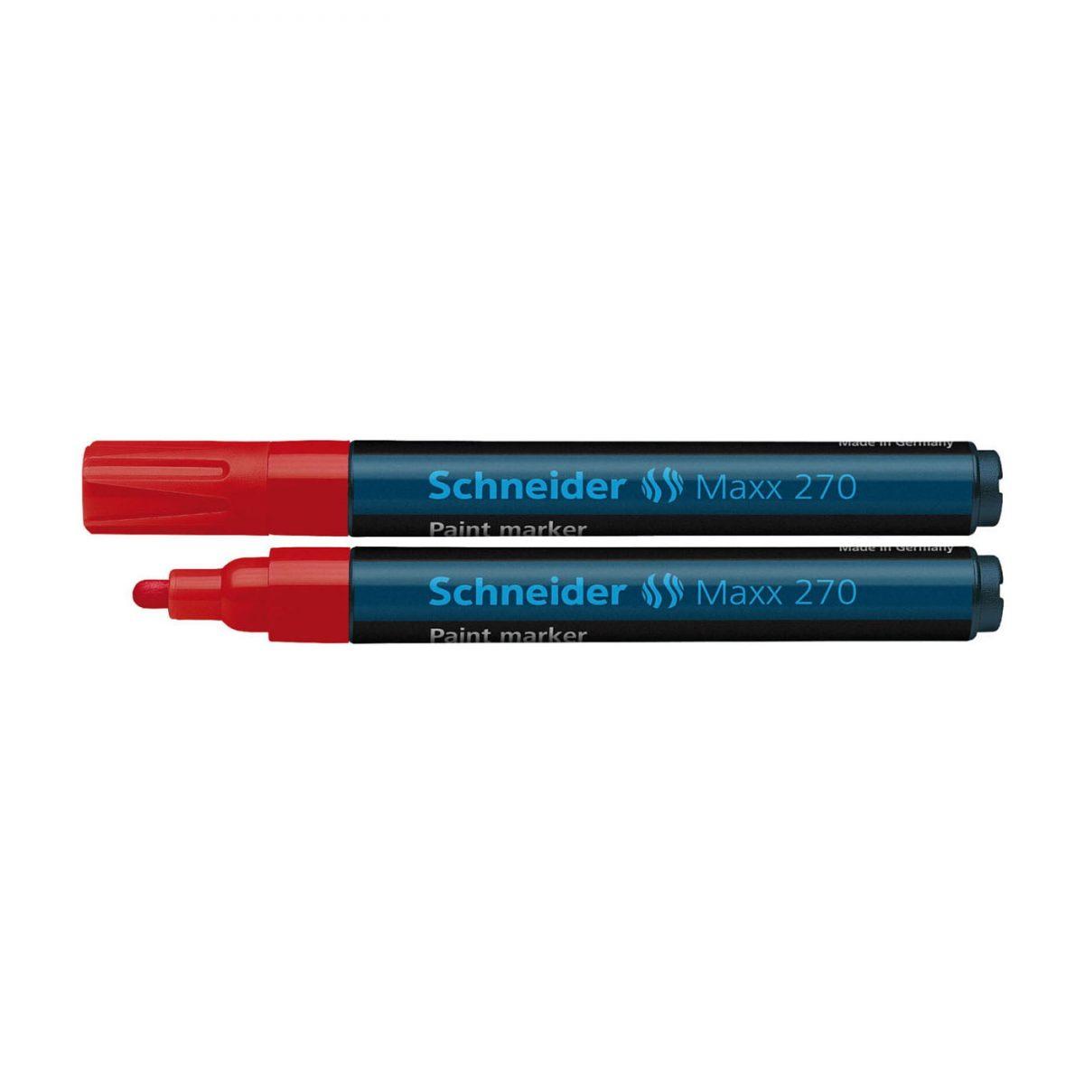 Marker cu vopsea SCHNEIDER Maxx 270, varf rotund 1-3mm - rosu