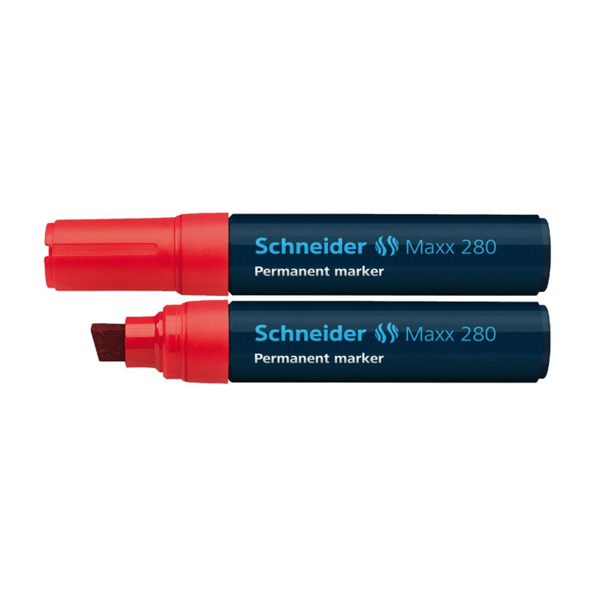 Permanent marker SCHNEIDER Maxx 280, varf tesit 4+12mm - rosu