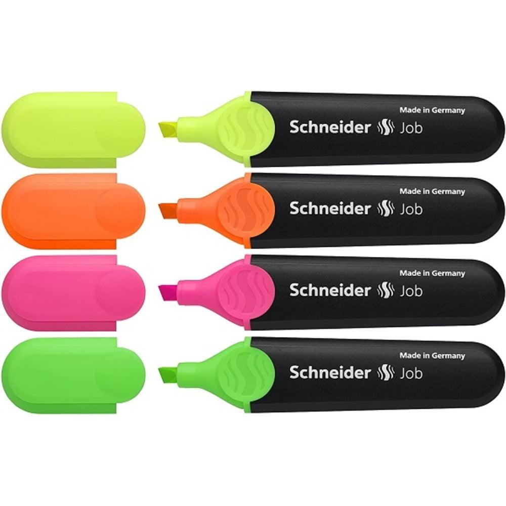 Textmarker SCHNEIDER Job, varf retezat,4 culori/set