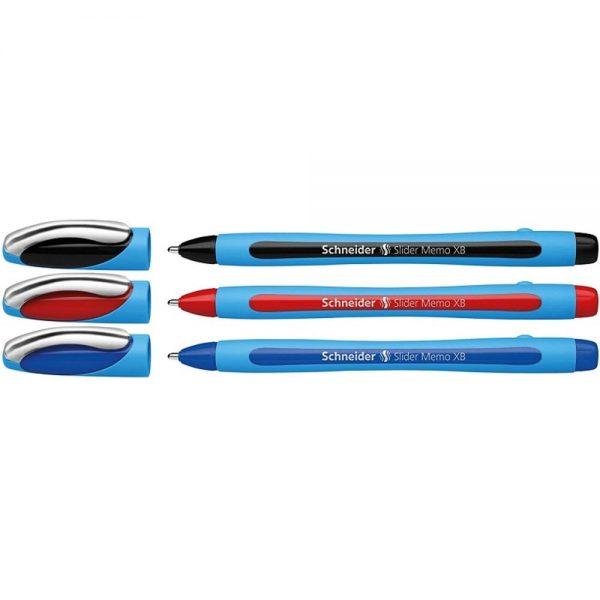Pix SCHNEIDER Slider Memo XB, rubber grip, accesorii metalice, 3 culori/set