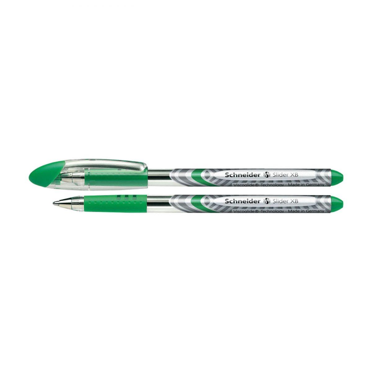 Pix SCHNEIDER Slider Basic XB, rubber grip, varf 1.4mm - scriere verde