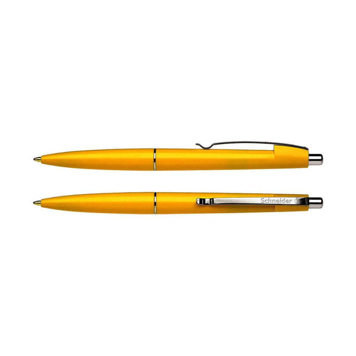 Pix SCHNEIDER Office, clema metalica, corp galben-portocaliu - scriere albastra