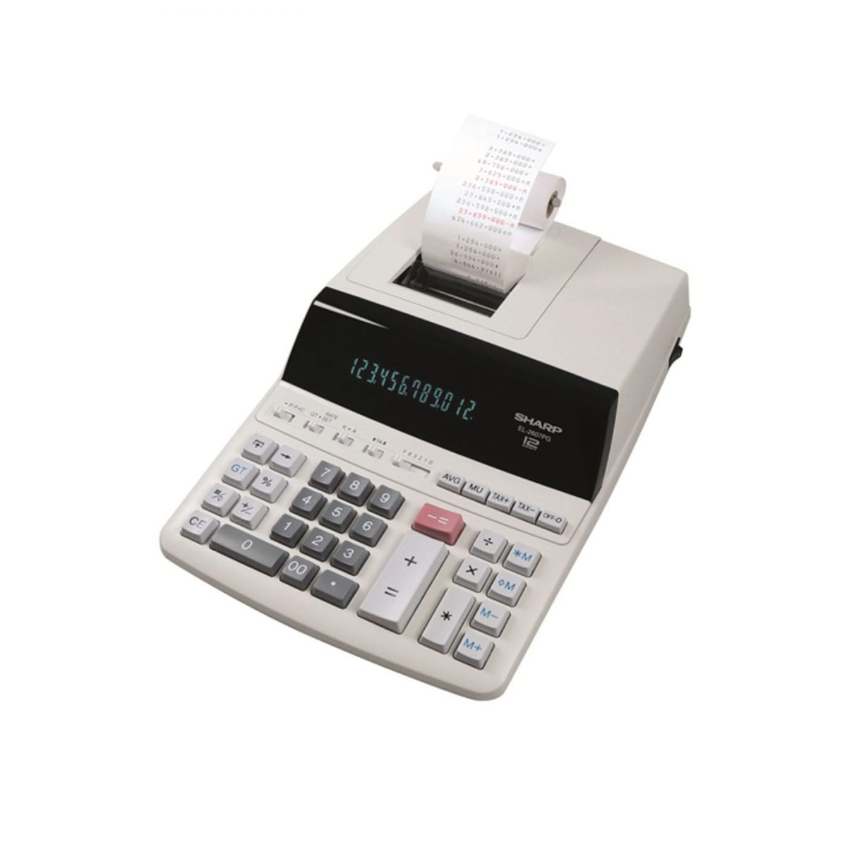 Calculator cu banda, 12 digits, 327 x 221 x 78 mm, SHARP EL-2607PGGYSE - gri