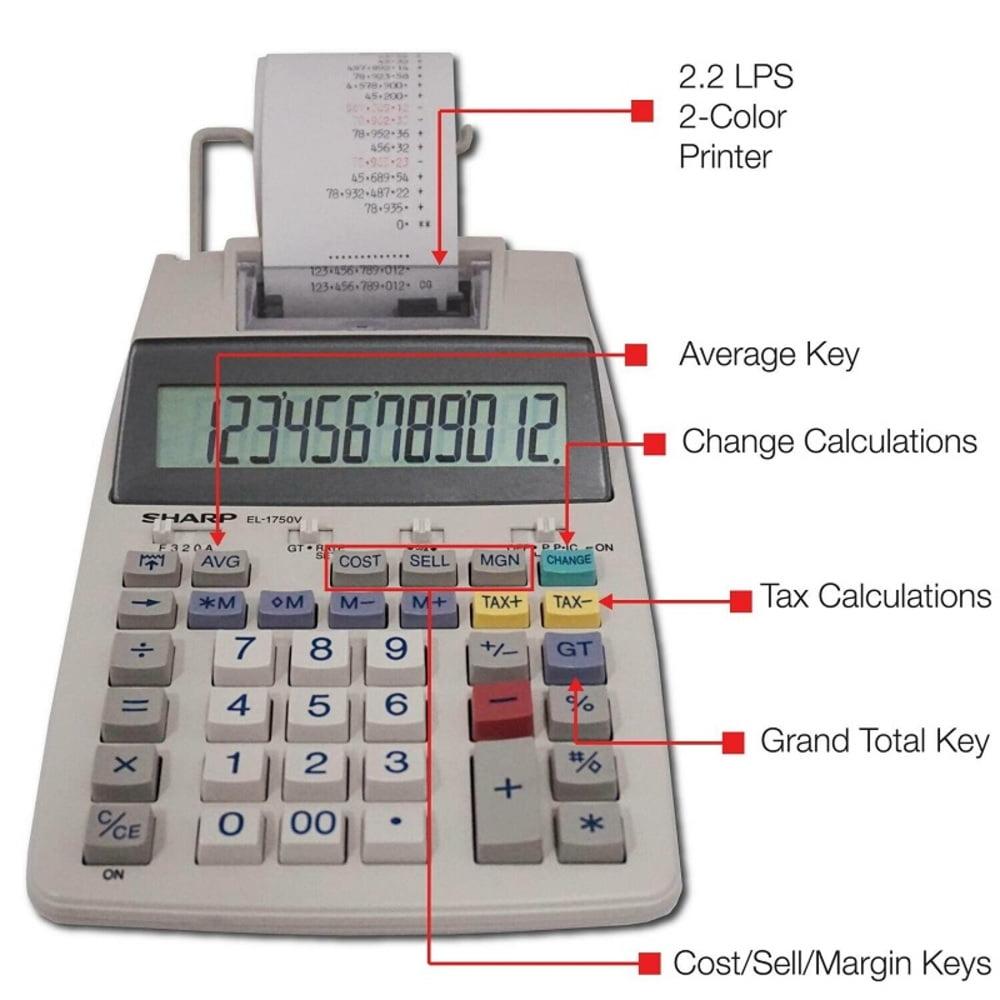 Calculator cu banda, 12 digits, 230 x 150 x 52 mm, SHARP EL-1750V - alb