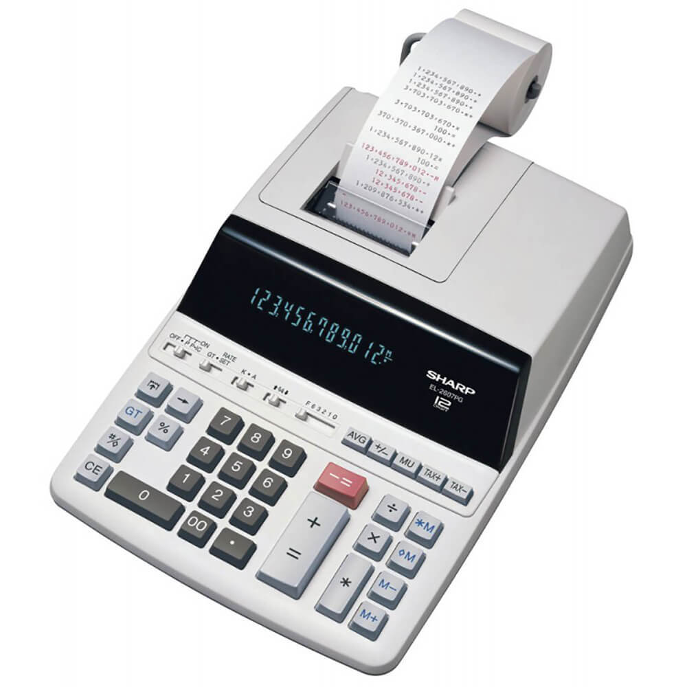 Calculator cu banda, 12 digits, 327 x 221 x 78 mm, SHARP EL-2607PGGYSE - gri