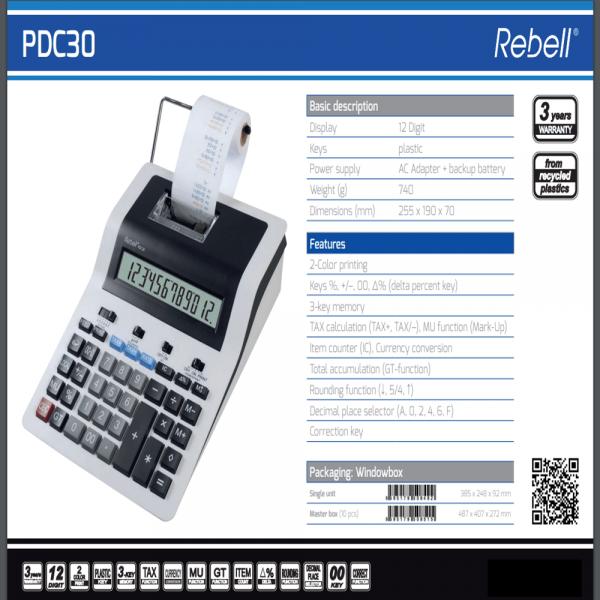 Calculator cu banda, 12 digits, 255 x 190 x 70 mm, Rebell PDC 30 - alb/negru