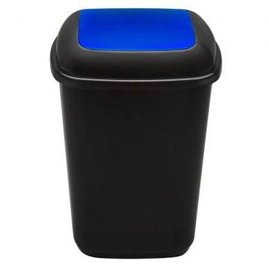 Cos plastic pentru reciclare selectiva, capacitate 90l, PLAFOR Quatro - negru cu capac albastru